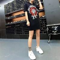"""Chrome Hearts"" Women Fashion Sequin Embroidery Cross Hooded Short Sleeve Casual T-shirt Mini Dress"
