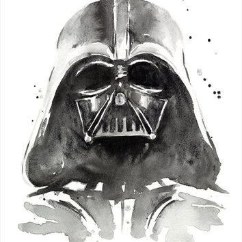 Darth Vader Watercolor Art Print, The Dark Side of Watercolor, Star Wars Fan Art, Geek, Sci-Fi, Portrait