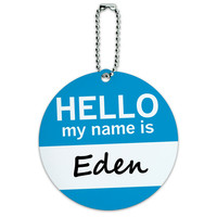 Eden Hello My Name Is Round ID Card Luggage Tag