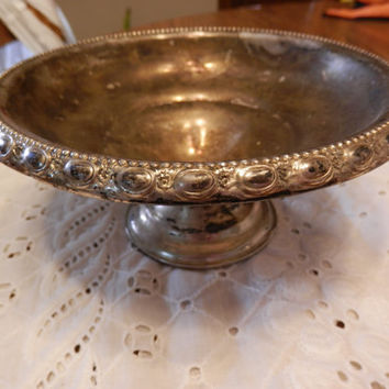 Vintage Sterling Silver La Pierre Standing Pedestal Fancy Compote Nut Dish Weighted Reinforced Decor Scrap Precious Metals