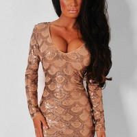 Sinner LUXE Copper Sequin Bodycon Dress | Pink Boutique
