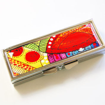 Abstract Pill Case, Pill Case, Pill Container, Bright Colors, Abstract Pill Box, Gift for her, rectangle pill case, abstract design (2754)
