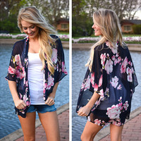 Fashion Flower Print Chiffon Beach Sunscreen Clothes Loose Middle Sleeve Cardigan Kimono