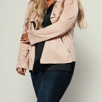 Curvy Mad Love Moto Jacket (Blush)