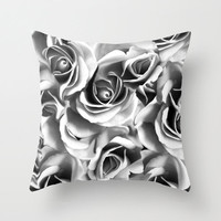 Decorative Pillow Cover, Roses Pillow Cover, Boho, Indoor or Outdoor Pillow Cover, Black and White Flower Pillow Cover