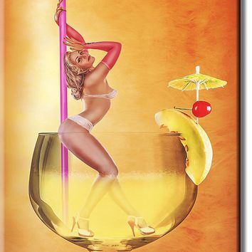 Girl in Glass Drink Picture on Stretched Canvas, Wall Art Décor, Ready to Hang