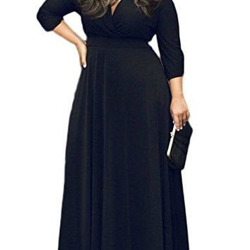 POSESHE Women's Solid V-Neck 3/4 Sleeve Plus Size Evening Party Maxi Dress (2XL, 01 Black)