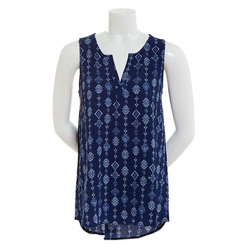 Juniors Derek Heart Sleeveless Half Placket Top