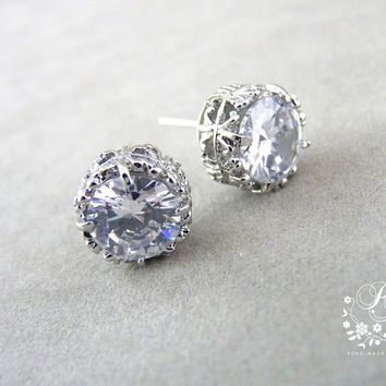 Wedding Earrings Zirconia stud Earrings Wedding Jewelry Bridal Earrings Bridesmaid Earrings Bridal Jewelry Bridesmaid Gift Nickel free