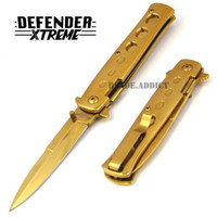 "8.5"" LIMITED EDITION ALL GOLD STILETTO SPRING ASSISTED OPEN POCKET KNIFE NEW"