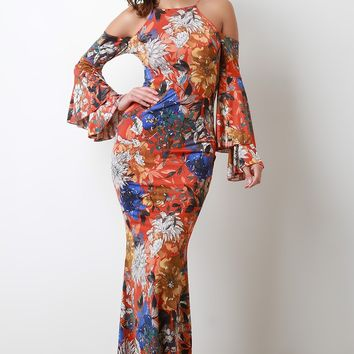 Bold Print Statement Sleeve Cold Shoulder Maxi Dress