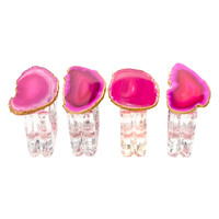 Mapleton Drive Napkin Rings with Agate (Set of 4) - Pink