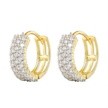 14k Gold Finish 3 Row Solitaire Small hoop Earrings