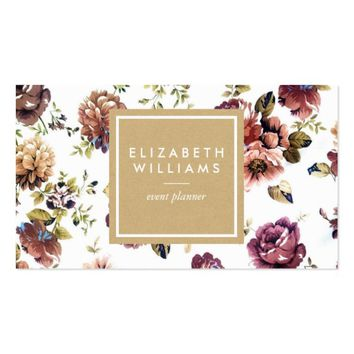Watercolor Floral with Brown Kraft Paper Business Card