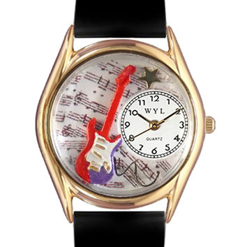 Whimsical Watches Nurse Gift Accessories Electric Guitar Themed Black Leather And Goldtone Watch
