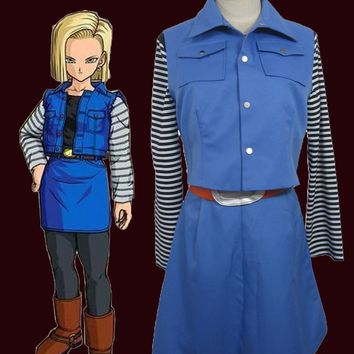 Dragon Ball Android NO.18 Uniform Cloth Combined Leather Cosplay Costume