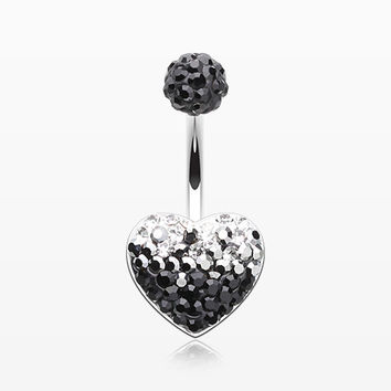 Waterfall Droplets Multi-Gem Sparkle Heart Belly Button Ring