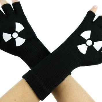 Bio-Hazard Black Fingerless Gloves Arm Warmers Alternative