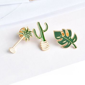 1 pc Cactus Palm Leaves Plant Tree Natural Lapel Brooch Pin Enamel Brooch Collar Pins Cactus Gift Cactus Jewelry Cute Brooch