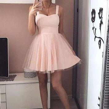 Simple A Line Sweetheart Neck Short Pink/Black Prom Dress with Straps, Short Pink/Black Graduation Dress, Homecoming Dresses
