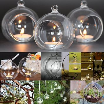 6 Pcs 10cm Clear Hanging Glass Candle Holder Ball Baubles Round Sphere Tealight Candle Holders Home Decor Christmas Party Suppli