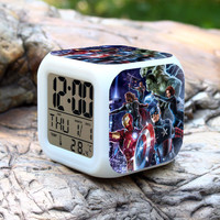 Action Toy Figure Kids Marvel Avengers Super Hero Anime Led Alarm Clocks Ironman Captain America Hulk Thor Black Widow Hawkeye