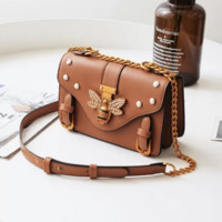 Gucci New Popular Women Shopping Bag Leather Metal Chain Bee Single Shoulder Bag Handbag Crossbody Satchel