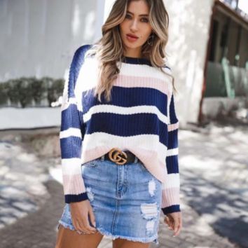 New autumn loose striped long-sleeved knit casual sweater women