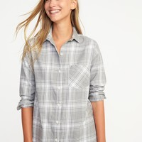 Boyfriend Plaid Flannel Shirt for Women | Old Navy