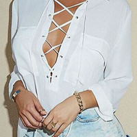 White Criss Cross Self-Tie Neck Pocket Chiffon Shirt