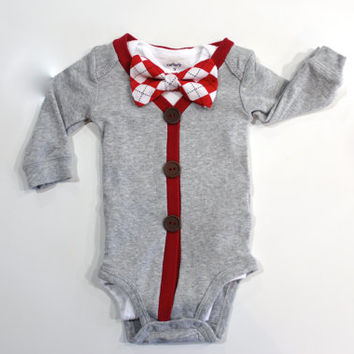 Valentine Cardigan with Bowtie for baby boys. Pick a Bow Tie. Chevron gingham stripes red black gray. Valentine's Day Outfit.