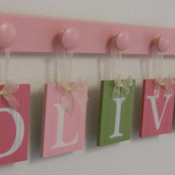 Baby Girl Wooden Letters Sign Includes Personalized Alphabet Wall letters and 6 Pegs Light Green, Pinks. Custom Order for OLIVIA