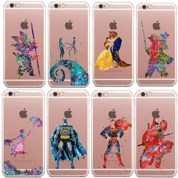 Beauty of the beast Marvel Star Wars Deadpool Watercolor Art Soft Clear TPU Phone Case For iPhone X SE 5s 6S 6 Plus 8 7 8Plus
