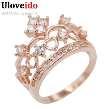 Uloveido Wedding Bijoux Princess Rings For Women CZ Diamond Jewelry Engagement Party Rose Gold Plated Ring Crown Female Y128