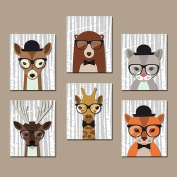 HIPSTER WOODLAND Animals Nursery Wall Art Hipster Animals Canvas Wall Art Birch Wood Forest Animal Bear Giraffe Boy Bedroom Prints Set of 6