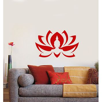 Vinyl Wall Decal Lotus Flower Blooming Bud Buddha Head Stickers (3701ig)