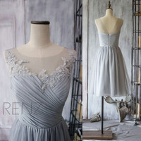 2015 Chiffon Bridesmaid Dress,Grey Cocktail Dress,Gray Tea Length Dress,Short Prom Dress,Lace Neck Formal Dress (F149)-Renz