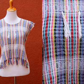 Vtg Fringed Mexican tunic cropped side slits cap sleeve size 6 rainbow striped bright colorful scoop neck oaxacan