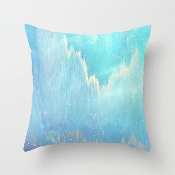 Blue Dreamscape Throw Pillow by printapix