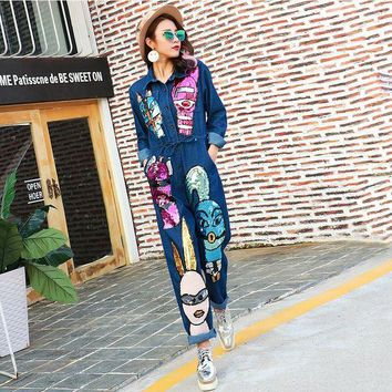 VONG2W 2016 Autumn Brand Personality Denim Jeans Siamese Jumpsuit Women Cartoon Sequined Jumpsuit Long Sleeve Rompers 1685