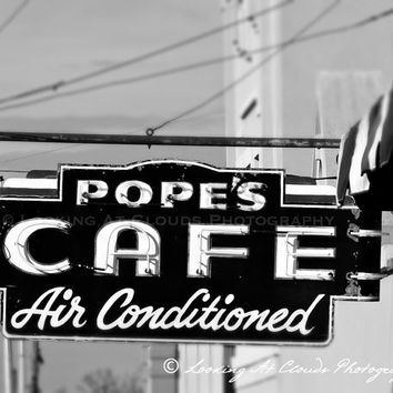 vintage diner art photo, neon sign, retro, black and white photo, Pope's Cafe, diner art, foodie, kitchen wall decor, retro diner decor