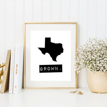 Texas Grown Home State Print, Custom Map, Personalized, Hometown Heart, Typewriter style, Stamp, Hometown map, Typography, Black & White