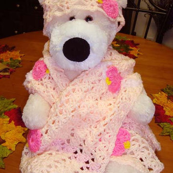 Girls Hand-Crocheted Pink Birdie Coral Shawl and Hat