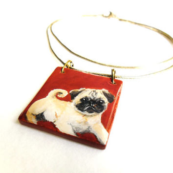 Pug Necklace, Animal Jewelry, Puggle Dog Jewelry, Puppy Love, Hand Painted Necklace, Pug Jewelry, Pug Pendant, Wooden Jewelry