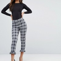 Missguided Tall Check Frill Hem Leggings at asos.com