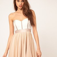 ASOS | ASOS Skater Dress With Lace Bustier at ASOS