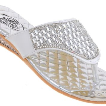 Crystal Jeweled White Silver Slide Thong Flip Flop Wedge Sandals