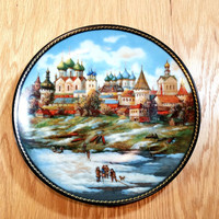 Collectible Plates Vintage Russian Plates Set of 3 Wall Hanging Decorative Plates Souvenir Russian Collector Plates