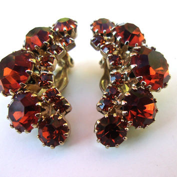 WEISS Orange Rhinestone Earrings, Crescent Shape, Signed Vintage