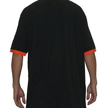 Mens MLB San Francisco Giants Athletic V-Neck Baseball Polo Shirt S Black